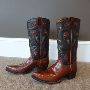 Frye Brown Leather Prairie Flower Cowboy boots